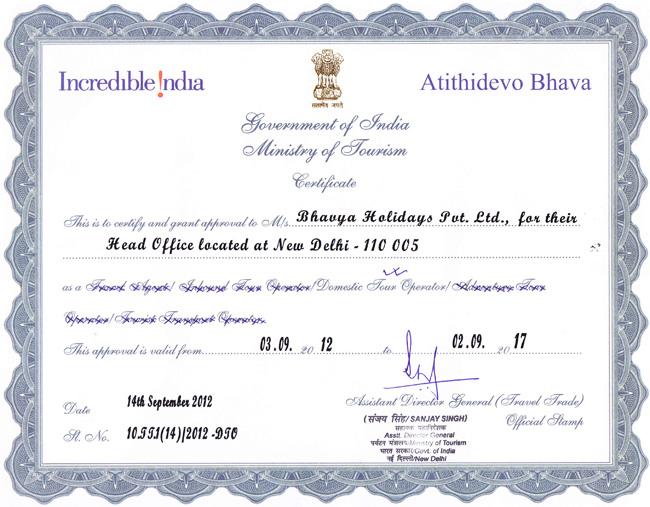 Incredible India - Approved by Ministry of Tourism (Government of India) - Bhavya Holidays Pvt. Ltd.